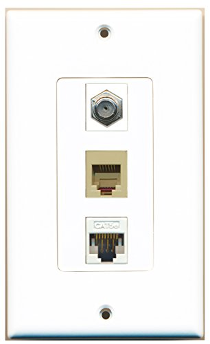 RiteAV - 1 Port Coax Cable TV- F-Type Phone RJ11 RJ12 and 1 Port Cat5e Ethernet Decorative Wall Plate - White ()