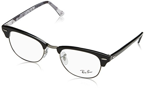 Ray-Ban RX5154 Clubmaster Square Eyeglass Frames, Black on Texture Grey/Demo Lens, 49 mm (Raybans Amazon)