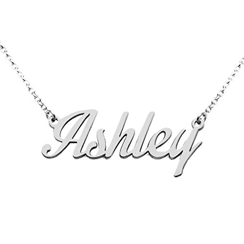 (High Polished Sterling Silver Classic Personalized Name Necklace)