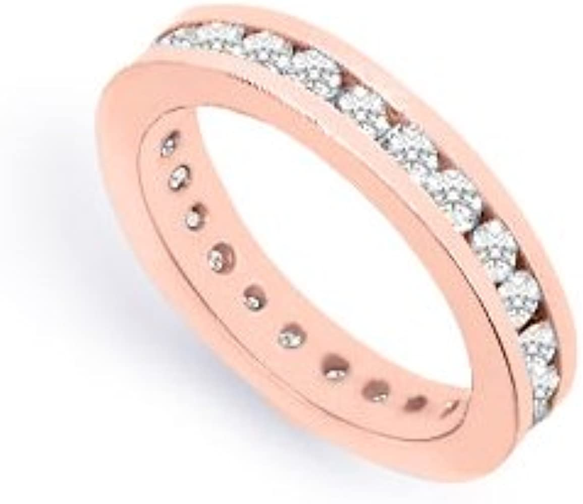 Amazon Com One Carat Diamond Eternity Band In 14k Rose Gold First