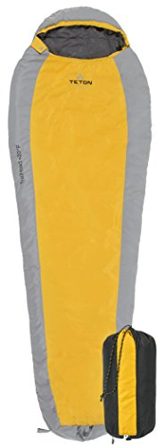 TETON Sports TrailHead Scout +20F Ultralight Sleeping Bag Perfect for Backpacking, Hiking, and Camping; Orange/Grey