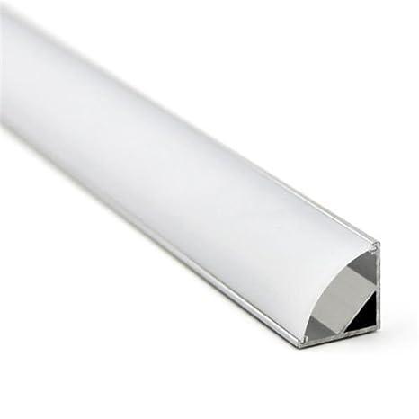 LineteckLED® - E12.020.18N Profilo angolare in alluminio 1metro con  striscia LED 5630 18W 12V luce naturale (4500K) con copertura opaca in  plexiglass ...