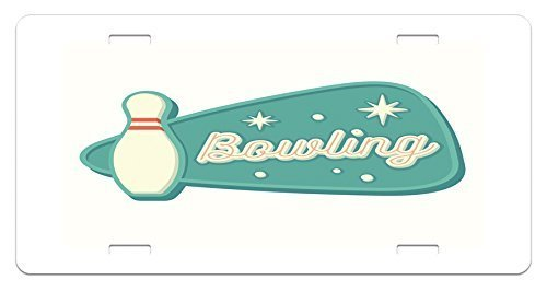 zaeshe3536658 Bowling License Plate, Vintage Design in TraditionaAmerican Style Hobby Fun Sports Theme, High Gloss Aluminum Novelty Plate, 6 X 12 Inches, Seafoam Cream and Rust