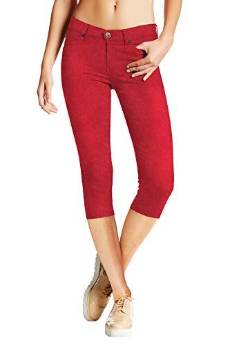 Women's Stretchy Denim Capri Jeans Q19407 RED 7 ()