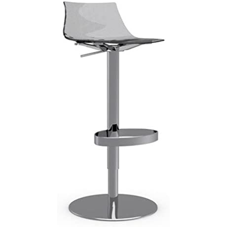 Connubia Ice Swivel Stool Metal Stained Chromed Frame Transparent Smoke Grey Seat