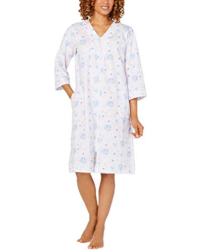 Miss Elaine Women's Floral Print Zip-Front French Terry Robe (Blue Print, X-Large) (Terry French Robes)
