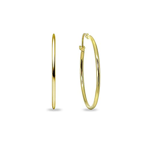 14K Yellow Gold Small 25mm Round Unisex Click-Top Hoop Earrings (1