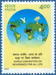 Sams Shopping World Convention on Reverence for All Life Rs4 Stamp