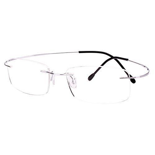 Agstum Pure Titanium Rimless Frame Prescription Hingeless Eyeglasses Rx (Silver, Non-Prescription Clear Lens / ()