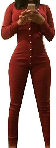 Papijam Women's Long Sleeve Jumpsuits Button V-Neck Bodycon Rompers Orange Red Large