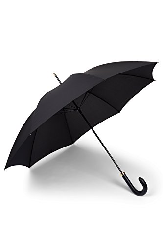Fulton Men's Tall Leather Handle 'Minister' Umbrella Black by Fulton