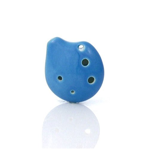 6 Hole Seedpod Pendant Ocarina - Soprano C -Ceramic - Sky Blue- Necklace Flute - Focalink - Perfect Travel Companion - Easy to Play - Free Tutorial & Songbook Included