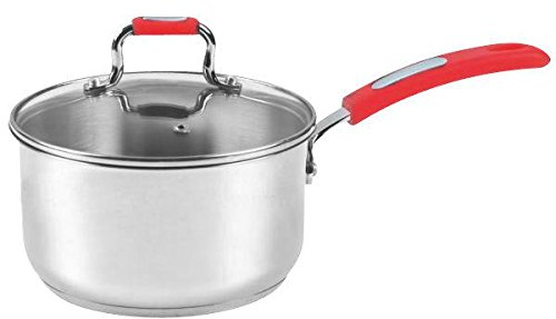 Europware 0130-14SP Stainless Steel 1 quart Sauce Pan with Glass Lid, Small, Silver/Red