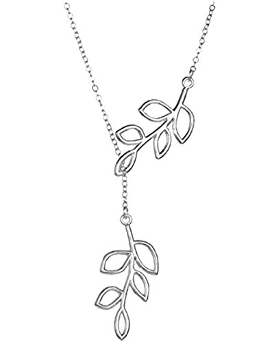 [Elegant Silver plated Diamond Accent Trees Leafs Flowers Pendant Necklace,Collarbone Charm Necklace] (The Shining Couple Costume)