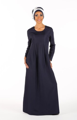 Pleated Plain Basic Abaya, Dark Grey, M