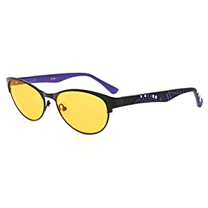 Eyekepper Computer Gaming Glasses with Optical Quality Frame Anti Blue Light Anti Radiation Anti Glare UV400 Reduces Eyestrain-96.9% Blue Light Blocking Orange Tinted Lens(Black/Purple, +0.00)