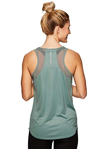 83e7c95eb6a RBX Active Women s Mesh Panel Workout Running Yoga Tank Top S19 Mesh Green  XL from RBX