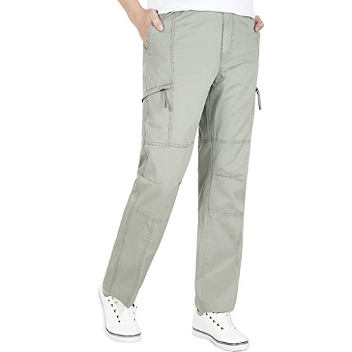 Men's Straight Cargo Pants |Men Plus Size Relaxed Loose Leg Patchwork Baggy Work Trousers | Casual Solid Color Sport Sweatpants with Zipper Pocket