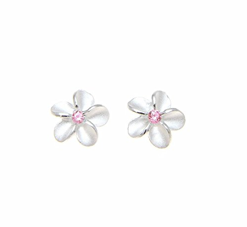 (Sterling silver 925 Hawaiian plumeria flower post stud earrings 8mm pink cz)