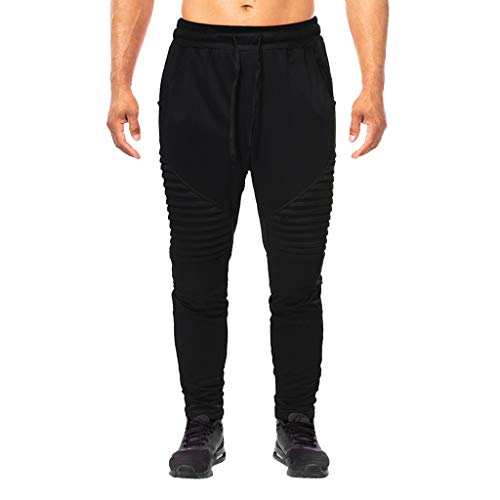 Fashion Men's Summer Solid Casual Sports Running Elastic Drawstring Trousers, MmNote Black ()