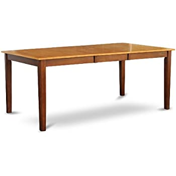 East West Furniture HET BRN T Rectangular Dining Room Table With 18 Inch Butterfly  Leaf