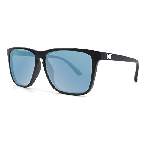 Knockaround Fast Lanes Polarized Sunglasses, Matte Black Frames/Sky Blue - Sunglasses Fast