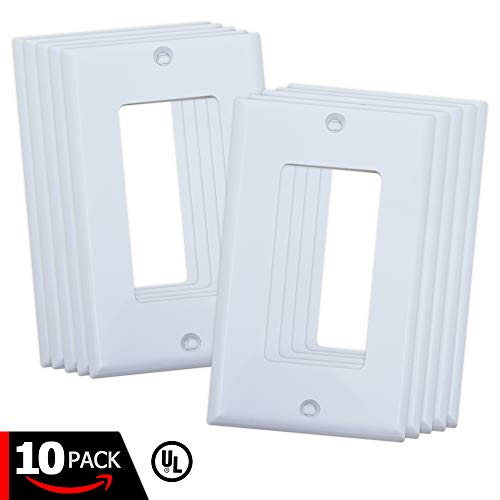 ESD Tech Switch Wall Plate, 1-Gang Outlet Cover, White Decorator, Standard Size Faceplate. Fits Paddle/Rocker Receptacles. Unbreakable, UL Listed – 10 Pack