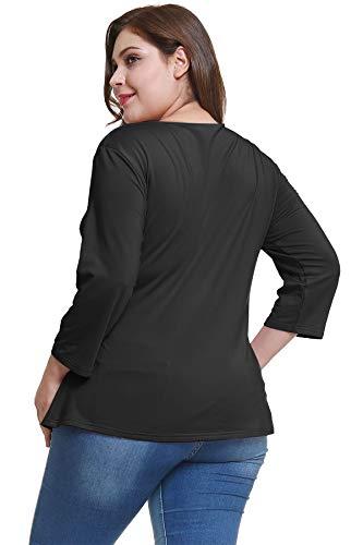 V OS010 Neck Cheriee Women's Plus Belt Black Chiffon Model Wrap Tie Size Top XxwHZqOawf