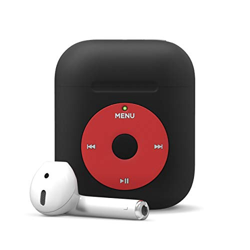 elago AW6 Airpods Case - Classic Music Player Design, Extra Protection - Compatible with AirPods 2/1 [US Patent Registered] (Black)
