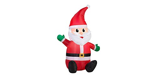 Gemmy LED Lighted Airblown Santa - Christmas Inflatable Outdoor Decoration for Yard, Lawn, Garden - Home Holiday Character Decor - 3.5 Feet ()