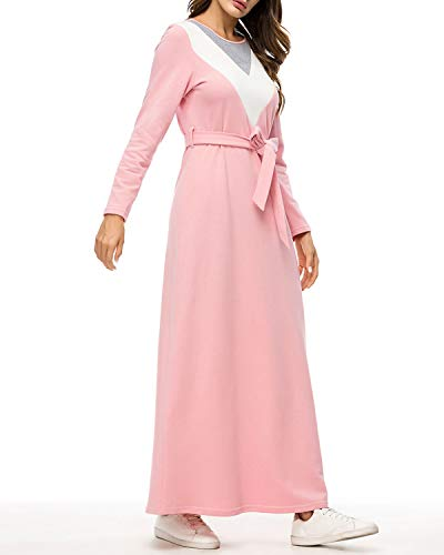 3xl Lunghe Con A Maniche Da Navy Girocollo Block Musulmani Pink Donna Color Funytine Size color Abiti Aq1xwIgA6