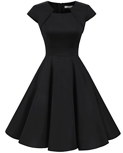 Homrain Women's 1950s Retro Vintage A-Line Cap Sleeves Cocktail Swing Party Dress
