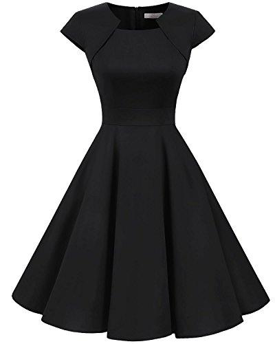 Homrain Women's 1950s Retro Vintage A-Line Cap Sleeve Cocktail Swing Party Dress Black M
