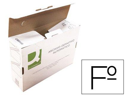 CAJA ARCHIVO DEFINITIVO Q-CONNECT FOLIO CARTON RECICLADO CIERRE CON LENGUETAS255X360X100 MM: Amazon.es: Oficina y papelería