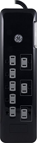 GE UltraPro 8 Outlet Surge Protector 8′ Cord Flat Plug 2160 Joules Safety Covers UL Listed Black (37870)