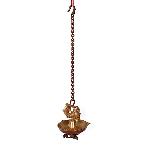 Craftvatika Big Bird Oil Diya Lamp Wall Hanging Brass Candle Holder