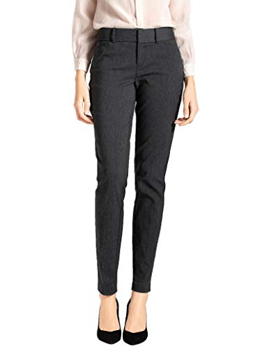 SATINATO Women's Straight Pants Stretch Slim Skinny Solid Trousers Casual Business Office (12 Regular, Charcoal) ()