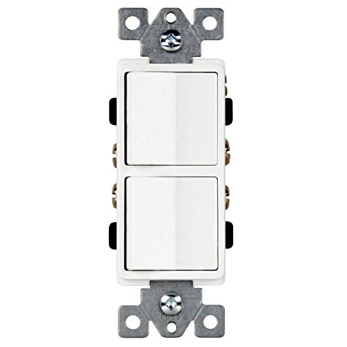 Double Paddle Combination Switch, Single-Pole, Residential Grade, Side Wiring, Grounding Screw, 15A 120-277v, 62834-W-N, White (New Model) ()