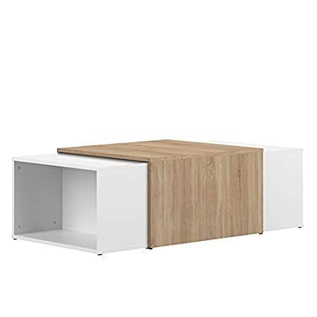 Wood & Colors Symbiosis 2066 A0300 X 00 contemporáneo Mesa Baja modulable Blanco/Roble Natural 120 x 67 x 38,1 cm: Amazon.es: Hogar