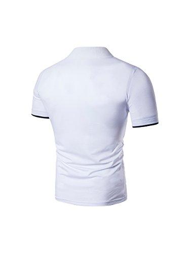 HerZii Polo Corta Manga Camisetas Moda T-shirts con Mariposa para hombre Blanco
