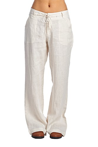 High Style Womens Button Closure Wide Leg 100% linen pants with drawstring waist (004A AntiqueWhite 14)