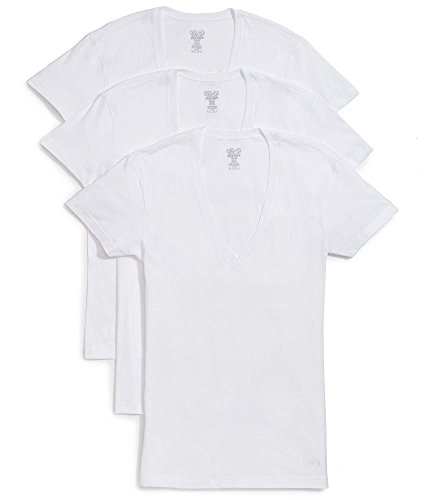 (2(X)IST Men's Essential Slim Fit Deep V Neck T-Shirts - 3 Pack (020351) Underwear, White Natural, X-Large)