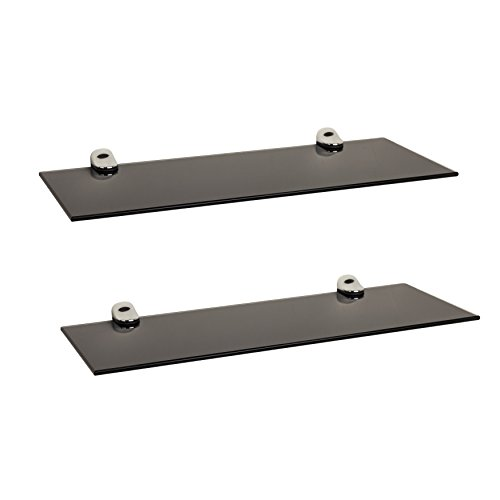 Danya B. WL4015B Floating Black Smoke Tempered Glass Display Shelves with Chrome Brackets (Set of 2) - Floating Black Glass