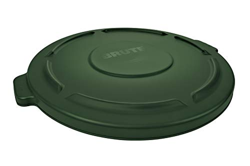 Rubbermaid Commercial Products FG263100DGRN Brute Heavy-Duty Round Trash/Garbage Lid, 32-Gallon, Green ()