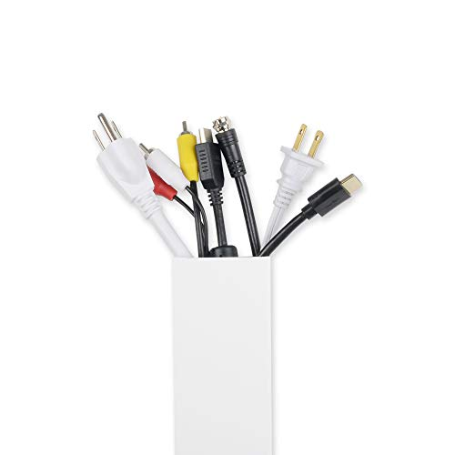 - Maxi Cable Management- Cord Cover TL:18 Ft Big Size Organizer Raceway Electric Wire Concealer On-Wall White Paintable 6 Pieces Self Adhesive Channel Size (WxHxL) 60x40x915mm / 2.36