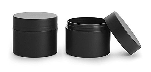 8 Oz. Frosted Black Polypropylene Plastic (PIR) Straight Sided Jars with Black Deep Skirted Unlined Caps (24 Jars)