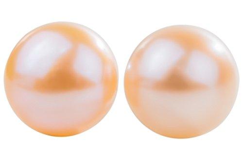 Peach Freshwater Pearl Stud Earrings Sterling Silver 12mm ()