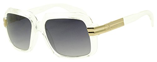 [Sunglass Stop - Classic Retro Square Clear Transparent RUN DMC Hip Hop Sunglasses with Metal Accent (Clear w/] (In Stock Hip Hop Costumes)