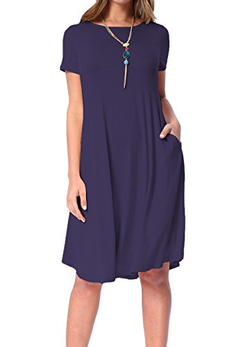 - levaca Womens Summer Short Sleeve Draped Casual Swing Party Dress Deep Blue M