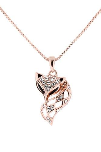 Collars Swarovski Cat (LaDual Fashion Jewelry Vintage Fox Pendant Necklace--Desire)